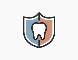 Animated tooth in a shield icon